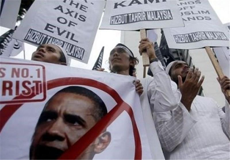 تظاهرات مردم مالزی در اعتراض به سفر باراک اوباما