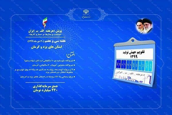 افتتاح 6 پروژه صنعت برق در 2 استان یزد و کرمان