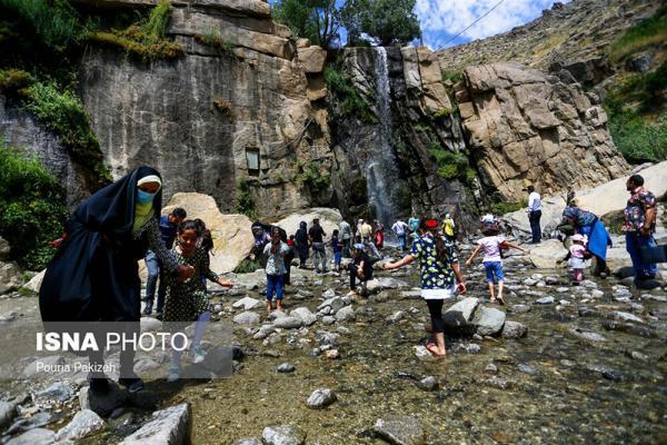 مسافران آبشار گنجنامه ، همدان